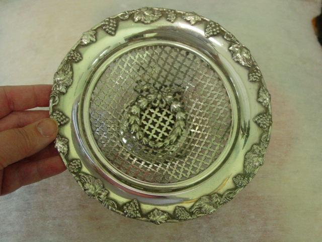 L.B.S. Co. Silver Plate Open Weave Grapevine Basket