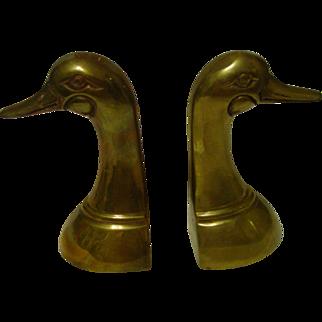 Mallard Duck Brass Bookend Set
