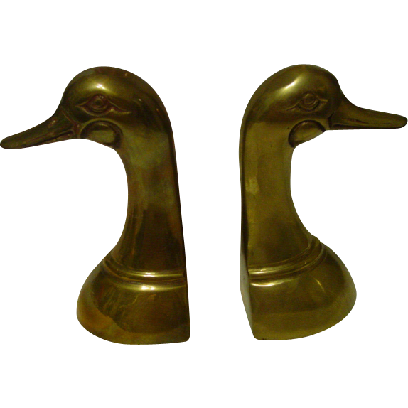 Mallard Duck Brass Bookend Set
