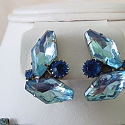 Big Odd Shape Blue Rhinestone Bracelet and Earring Parure Set