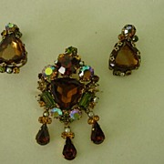 Austria  Crown  Rhinestone Dangle Pin w Earrings Demi Parure