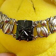 Sterling Silver Ornate Onyx Wide Bracelet