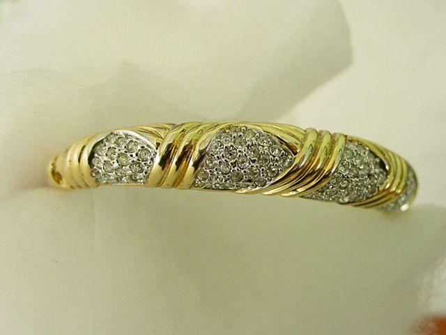 Goldtone Bangle Bracelet with  Rhinestone Accents