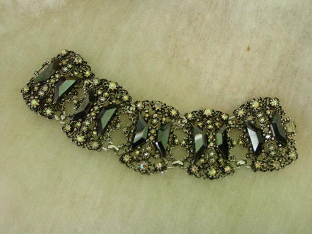 Superwide Aurora Borealis and Odd Shape Black Rhinestone Bracelet