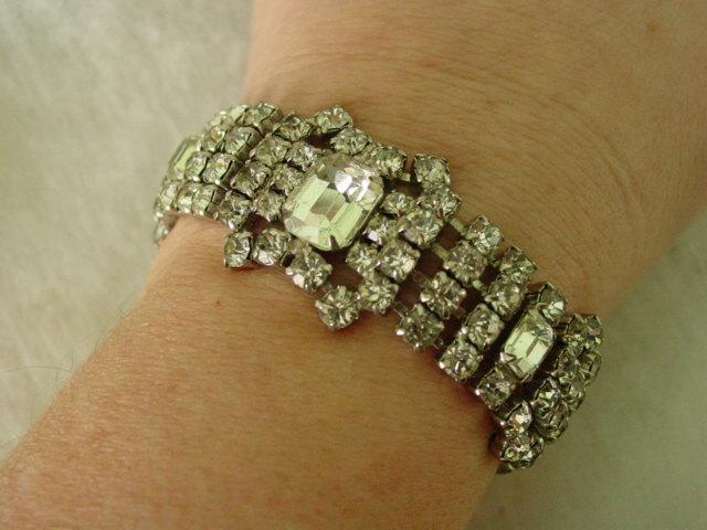 Lovely  Wide Rhinestone Bracelet