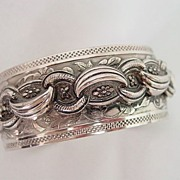 Ornate Raised Fancy Detail Cuff Bracelet