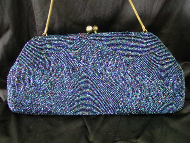 Rare Dark Beaded Dress Purse By Jorelle