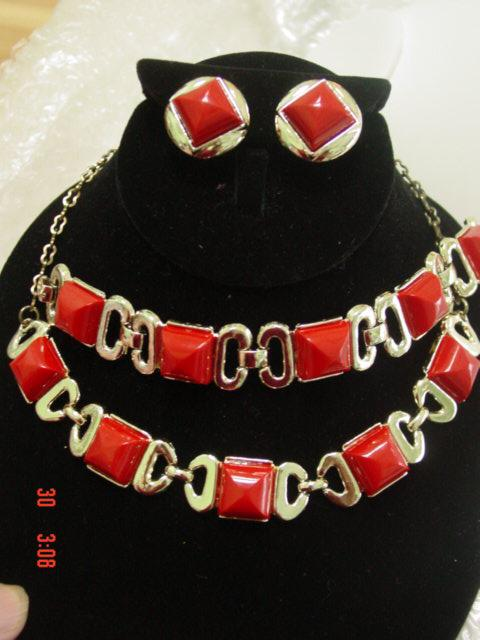 Vintage Red Chicklets 3 piece Parure Bracelet  Necklace Earrings