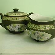 Royal Bayreuth Bavaria Dark Green Jasperware Like Finish Creamer Lid sugar Bowl
