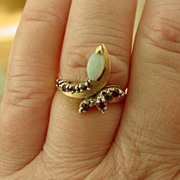 14K YG & WG Opal Ruby Ring