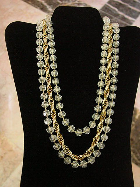 Sarah Coventry Necklace 3 Strand Faux Crystal Rope Necklace
