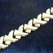 Vintage Sterling Silver Modernistic Abstract Link Bracelet
