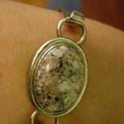 Vintage Mexican Carsi Sterling Silver Jasper Agate Bracelet