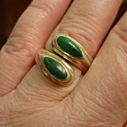 Sterling Silver Taxco Malachite Double Snake Head Ring