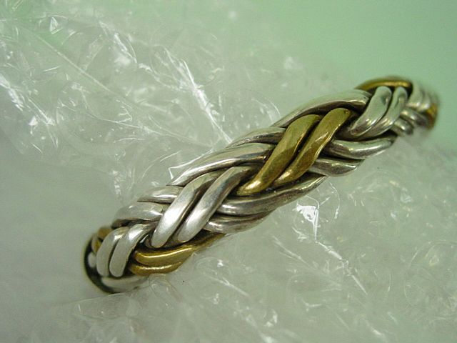 Solid Sterling Silver w Brass Woven Braided Bracelet
