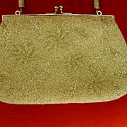 Vintage Silver Beaded Floral Design Evening Purse