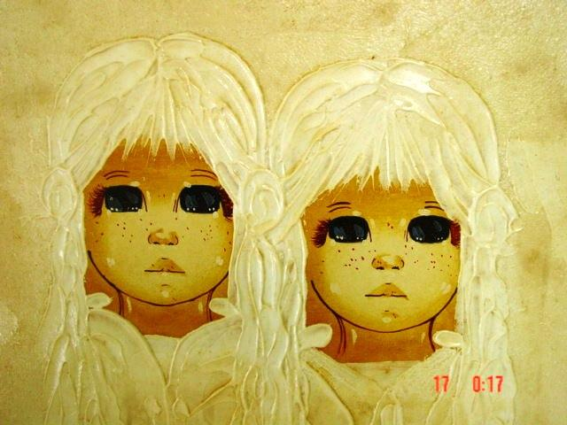 Big Eye Sisters Acrylic & Water Color Pop Art from The Sixties By Perry