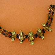 Super Topaz Black and Citron Rhinestone Kramer of N.Y. Bracelet