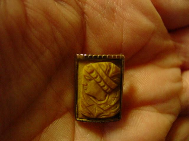 Hand Carved Tiger's Eye Left Side Man  Cameo
