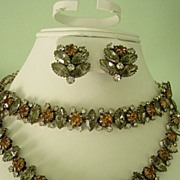 Vendome Parure w Black and Golden Brown and Clear Rhinestones