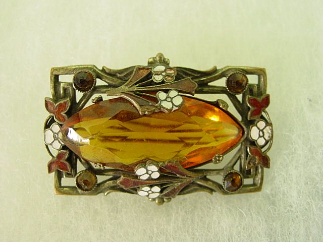 Victorian Flowing Curvilinear Brooch w Enamel and Big Glass Orange Brown Stone Brooch