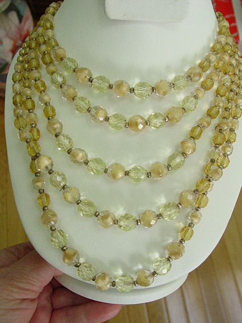 West Germany Multi Strand 5 Row Dangle Champagne Color Crystal Necklace