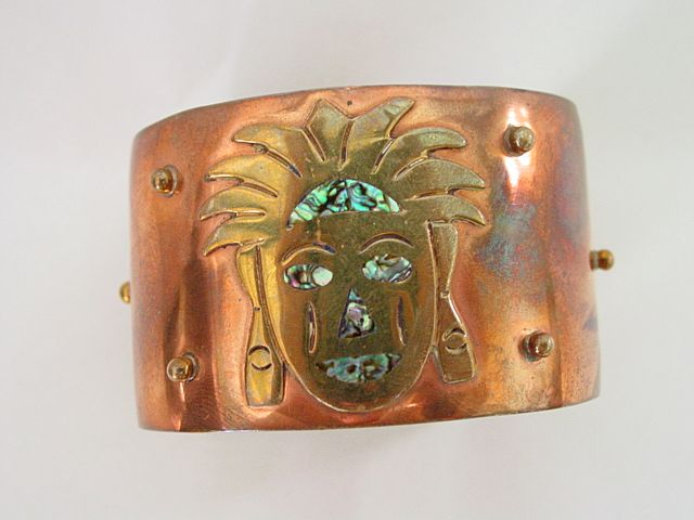 Warrior Face Copper Cuff Bracelet with inlay Abalone Shell