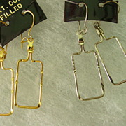 Vintage Wire Dangling  Earrings w 14Kt Gold Filled Wire Hoop Pierce Earrings