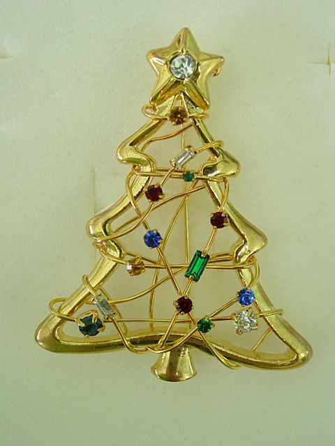 Christmas Tree Pin w Multi Shape and Color Rhinestones
