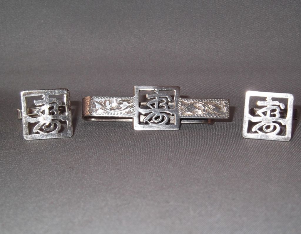 Old Art Nouveau Sterling Silver Tie Clip and Cuff Links with Oriental Influence