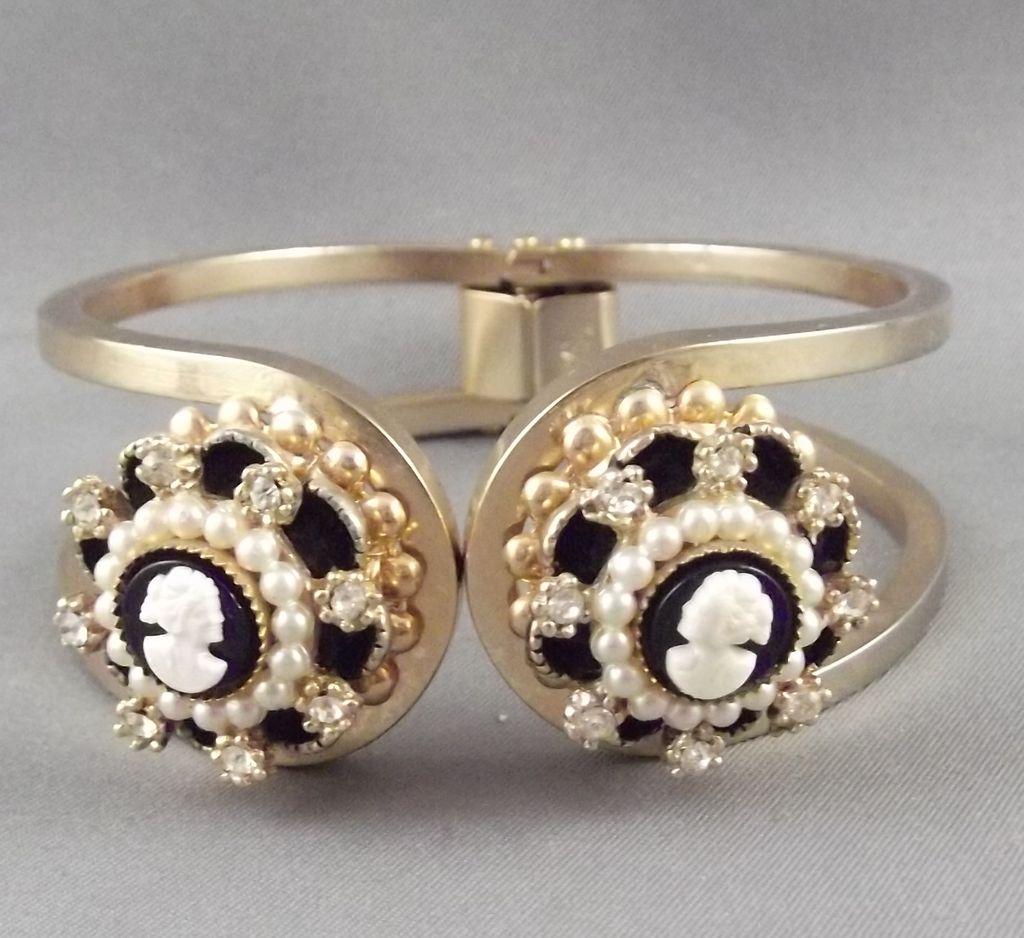 Vintage Faux Cameo & Faux Pearl Clamper Bracelet & Necklace