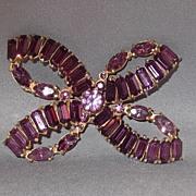Stunning Vintage Hollycraft Purple Rhinestone Bow Brooch