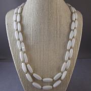 Vintage NAPIER White Glass Rectangular Bead & Goldtone 2 Strand Necklace