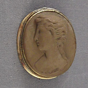 Antique Gold Filled Brown Lava Cameo