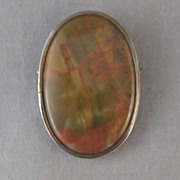 Old Red and Green Agate Brooch in Silver Setting
