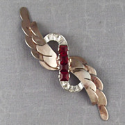 Art Deco Sterling Red Rhinestone Layered Brooch