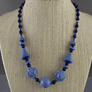 Light Blue & Dark Blue Art Deco Molded Glass Necklace / Rose & Daffodil