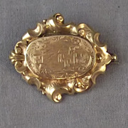 c. 1870 Victorian Gold Filled Mourning Brooch with Hair Compartment