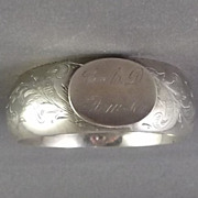 Antique Victorian Sterling Child's Monogrammed Bangle Bracelet
