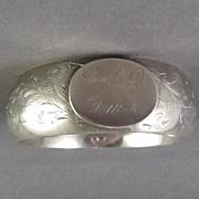 Antique Victorian Sterling Child's Monogrammed Bangle Bracelet