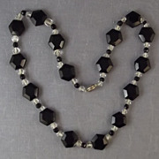 Vintage Black & Clear Faceted Crystal Glass Bead Necklace w/ Snap Closure