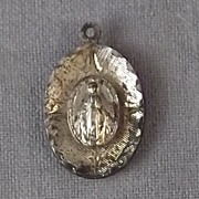 Vintage Sterling Layered Miraculous Mary Scalloped Medal Charm Pendant