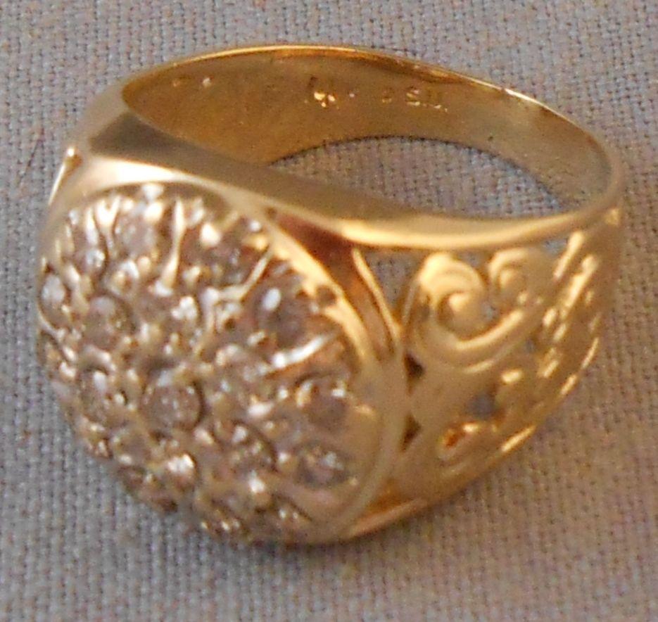 14k Yellow Gold & Diamond Ornate Filigree Unisex Man Ring Size 8 1/2