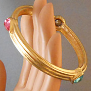 Vintage Givenchy Goldtone & Crystal Bangle Bracelet