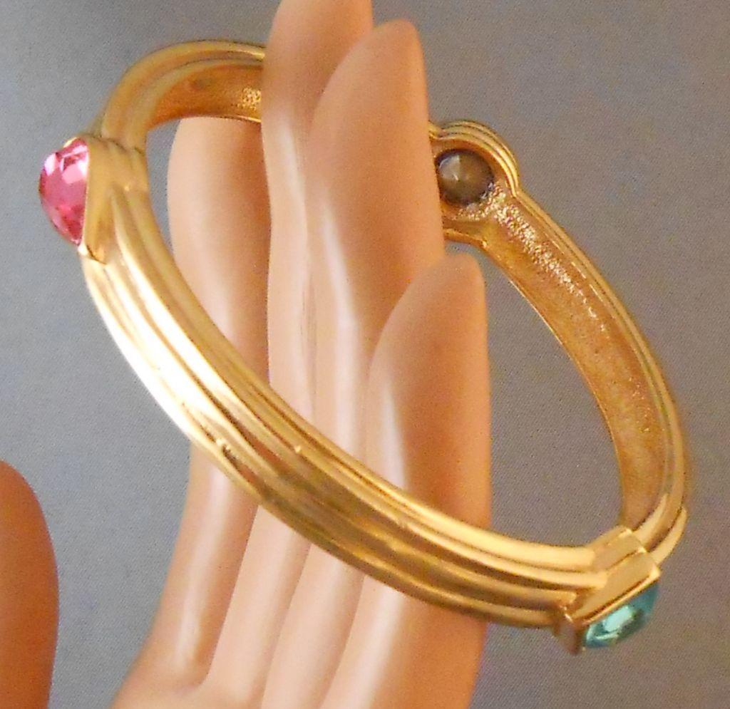 Vintage Givenchy Goldtone & Crystal Bangle Bracelet