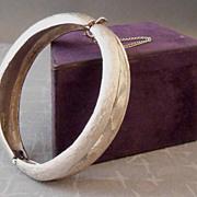 Vintage COROCRAFT Brushed Silvertone Hinged Clamper Bangle Bracelet