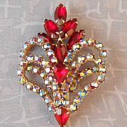Vintage AB & Red Rhinestone Sparkly Brooch Prong Set Stones