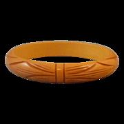 Vintage Bakelite Deeply Carved Bangle Bracelet