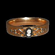Antique S O Bigney Gold Filled Bangle Bracelet with Faux Cameo