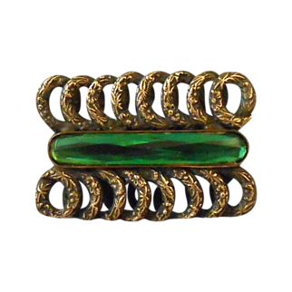 Art Nouveau Paste Brass & Emerald Green Rivoli Glass Brooch C Clasp
